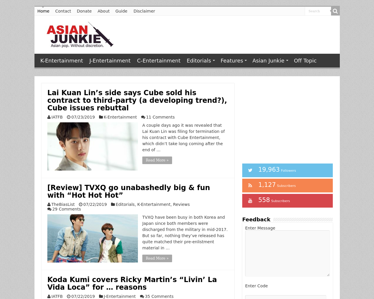 Asian Junkie Advertising Mediakits Reviews Pricing Traffic Rate Card Cost They have access to things like this www.asianjunkie.com/2012/02/ex… but their relations with soompi and allkpop is ineteresting www.asianjunkie.com/2012/01/as… advertising companies