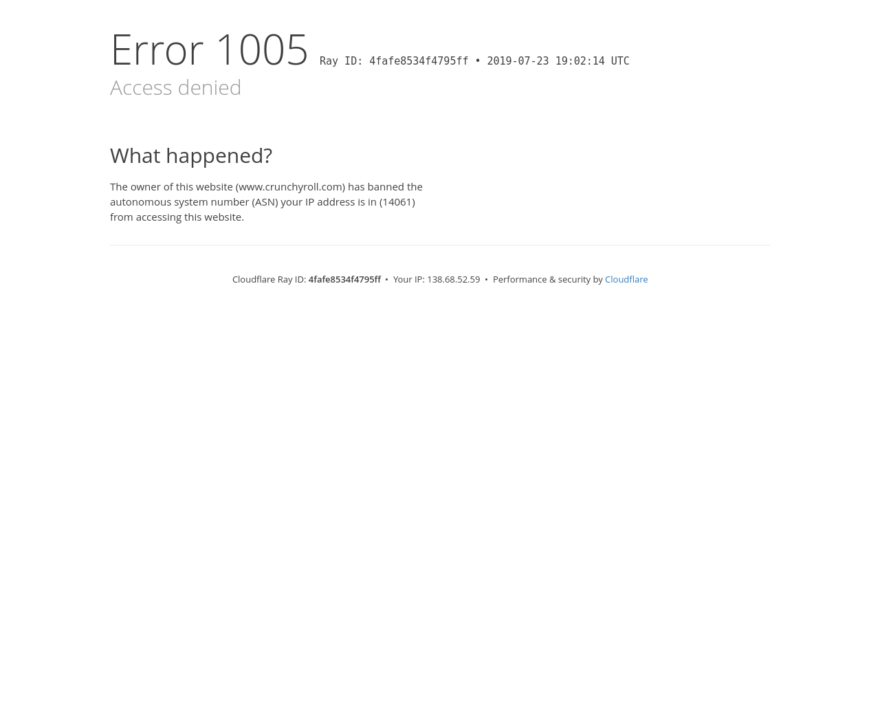 Access Denied Www Crunchyroll Com Used Cloudflare To