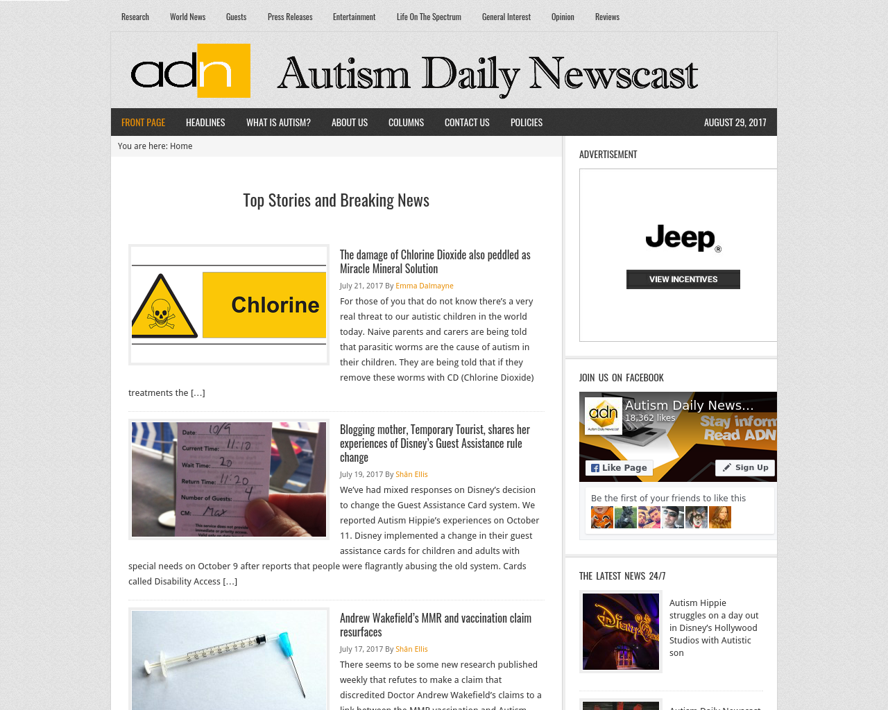 Autism-daily-newscast-Advertising-Reviews-Pricing