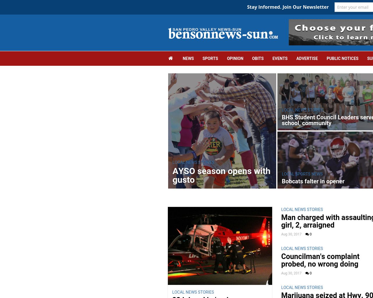 San-Pedro-Valley-News-Sun:-bensonnews-sun.com-Advertising-Reviews-Pricing