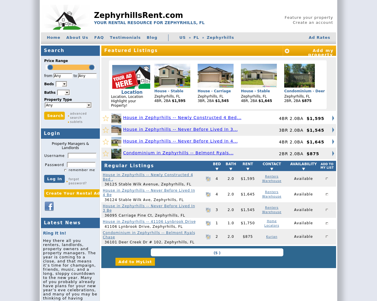 ZephyrhillsRent.com-Advertising-Reviews-Pricing