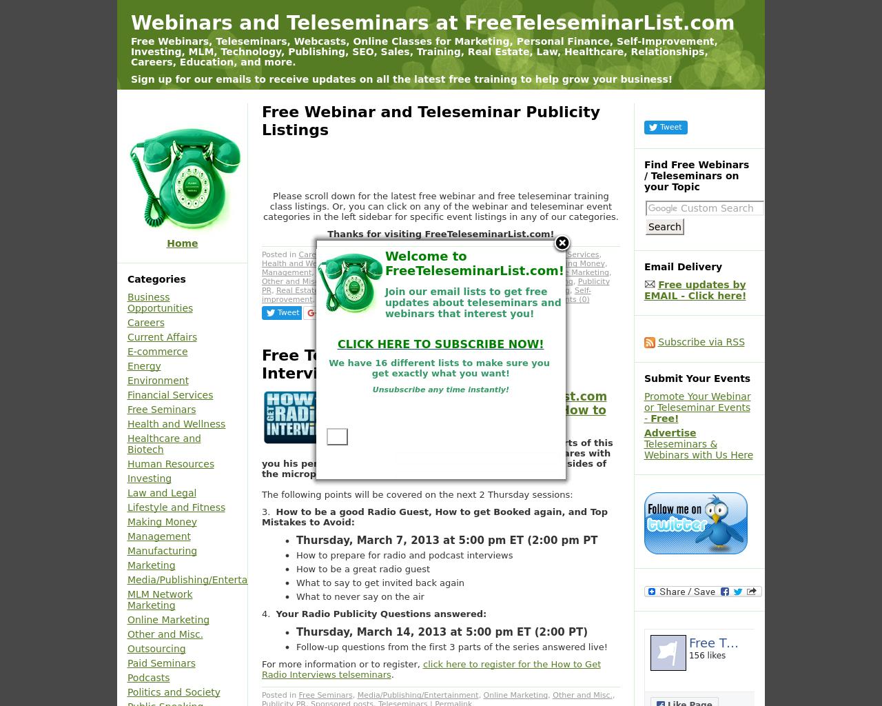 Freeteleseminarlist.com-Advertising-Reviews-Pricing