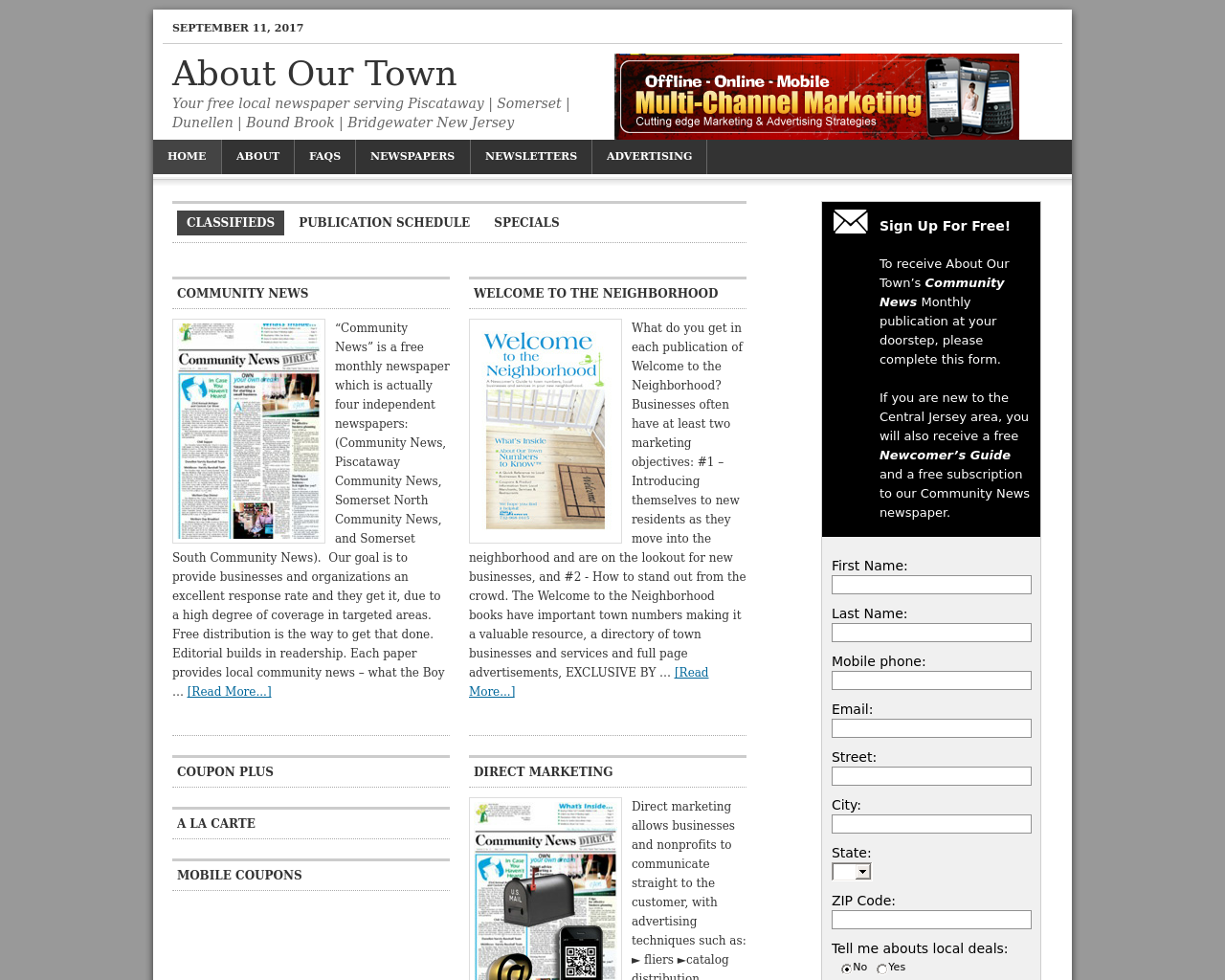 About Our Town Advertising Mediakits, Reviews, Pricing