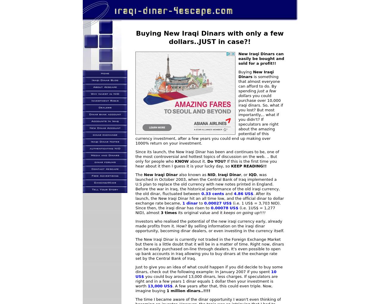 Iraqi-dinar-4escape.com-Advertising-Reviews-Pricing